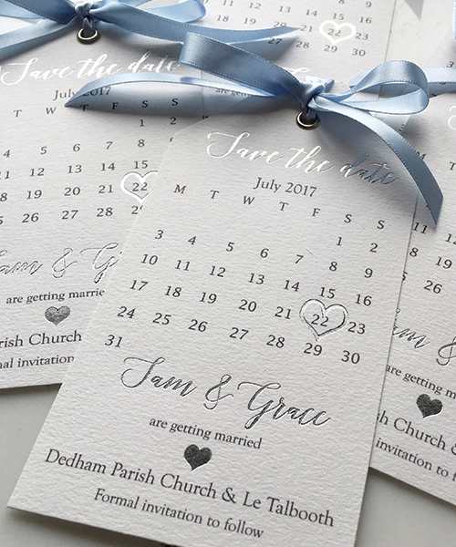 Bright White and Silver Foil Save the Date tags