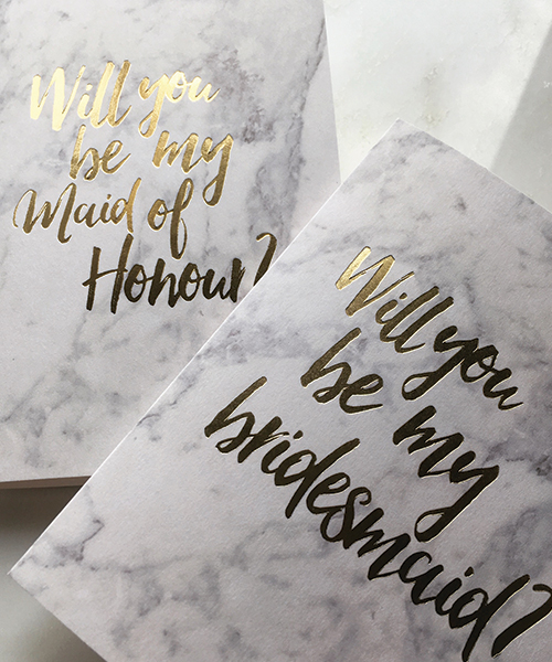 Marble Bridesmaid Cards