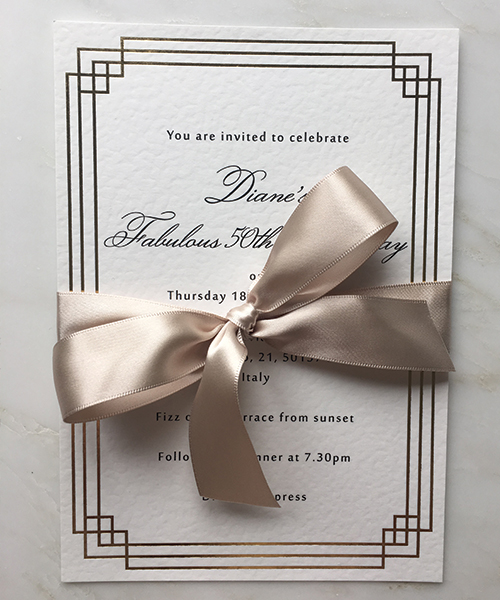 A5 Art Deco Invitation with Champagne Ribbon