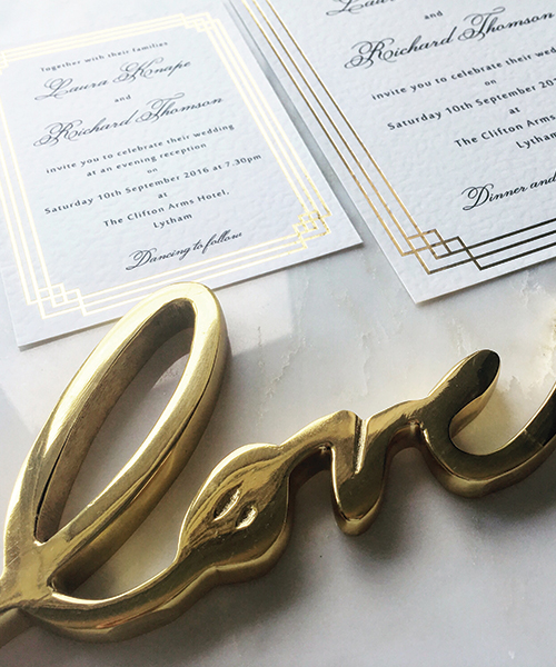 Art Deco Gold Foiled Invitations