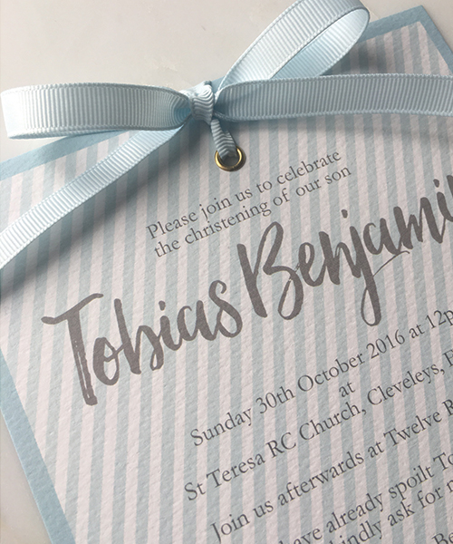 Baby Blue Candy Stripe Invitations
