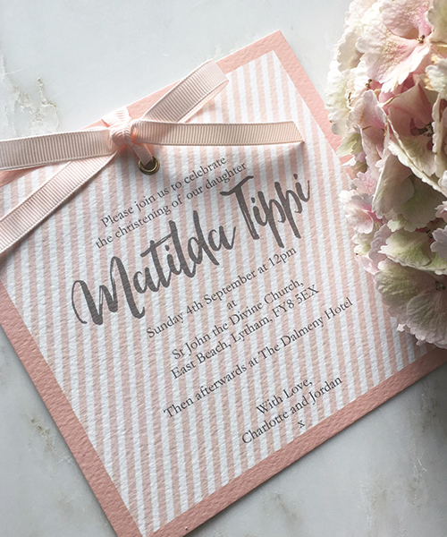 Blush Pink Candy Stripe Baby Invitation