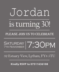 Charcoal Grey Party Invitations