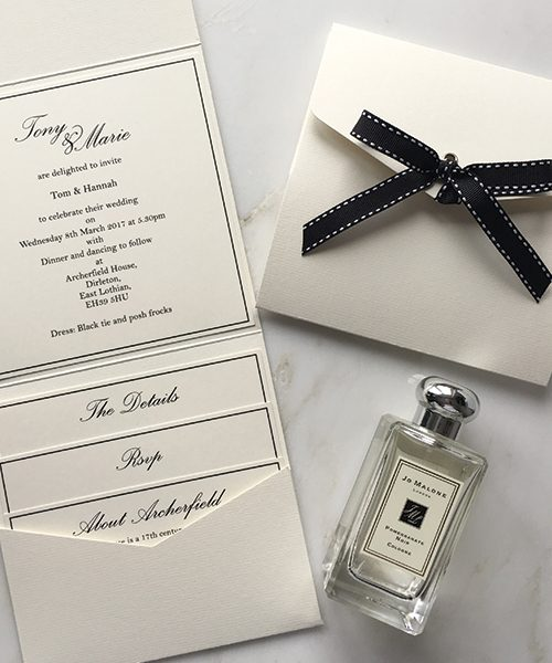 Cream and Black Pocketfold Invitations with bows