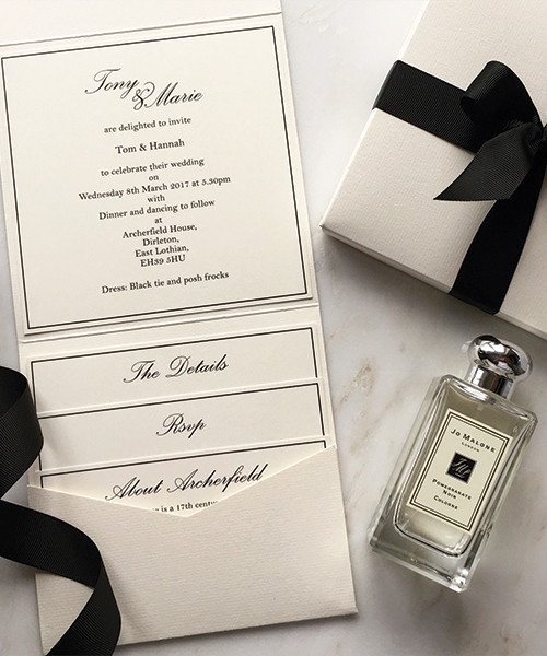 Cream and Black Jo Malone Inspired Wedding Pocketfolds