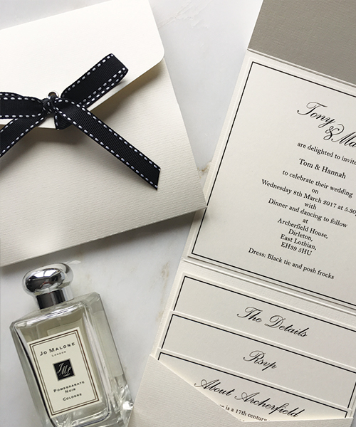 Cream and Black Ribbon Pocketfold Invitations