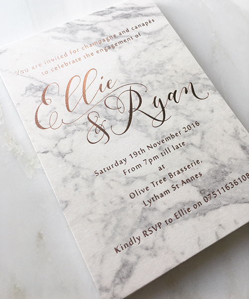 Marble and Rose Gold Engagement Invitations