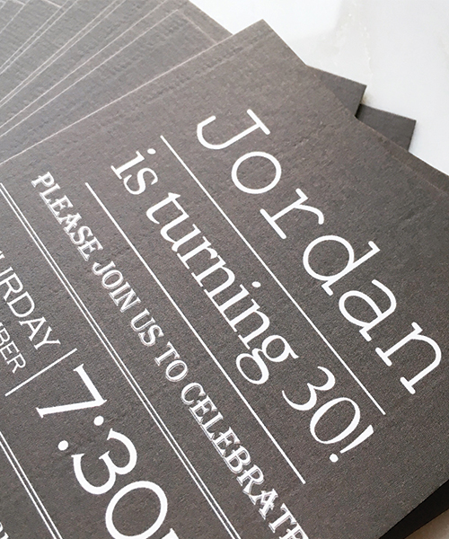 Mens Charcoal Grey Party Invitations