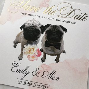 Pug Our Humans are Getting Married Save the Dates