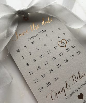 Pale Grey Save the Date Tags with Habotai Silk Ribbon