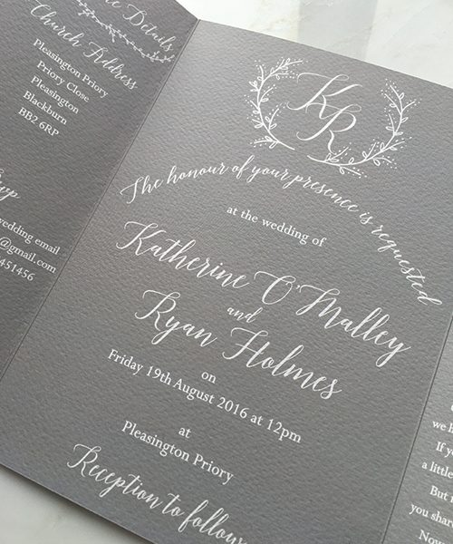Pale Grey and White Gatefold Invitations