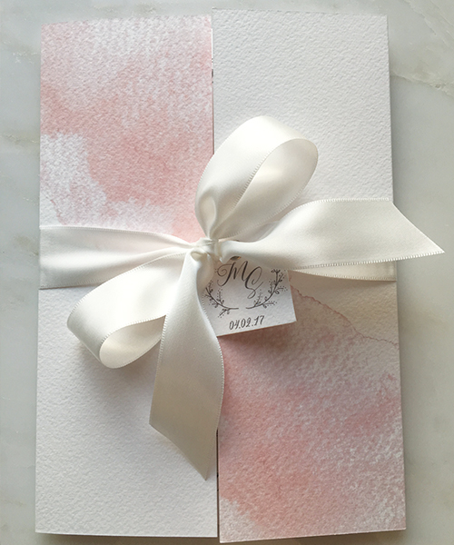 Pink Watercolour and White Bow Gatefold Invitations