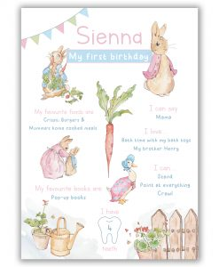 Peter Rabbit Pink Milestone Board